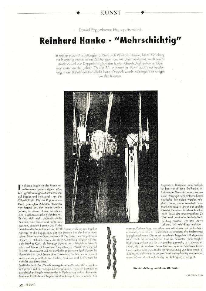 Zeitung Magazin Zeitungsbericht Reinhard_Hanke-mehrschichtig Museum Kunstausstellung Künstler Malerei Mischtechnik Öffentlichkeit Semantik Konzept Suggestion Assoziation Transzendierung Bewusstsein Rationalität Symbolik Spekulation Zeichen Betrachter Zeichengruppe syntaktisch Regel hermeneutisch Prinzipien Semantik logisch