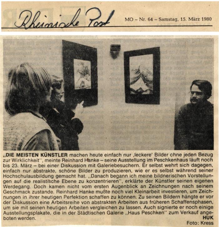 Rheinische_Post Zeitung Presse Zeitungsbericht Die _meisten _Künstler Stadtgalerie Kunstausstellung Künstler Wirklichkeit Diskussion Hochschulausbildung Realismus Perfektion Schaffensphase Ausstellungsplakat