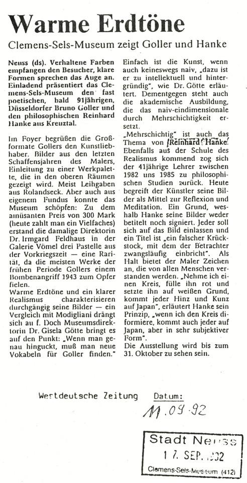 Westdeutsche_Zeitung Presse Zeitungsbericht Warme_Erdtöne Clemens-Sels-Museum Kunstausstellung Künstler Erdtöne mehrschichtig Realismus Philosophie Reflexion Meditation subjektiv