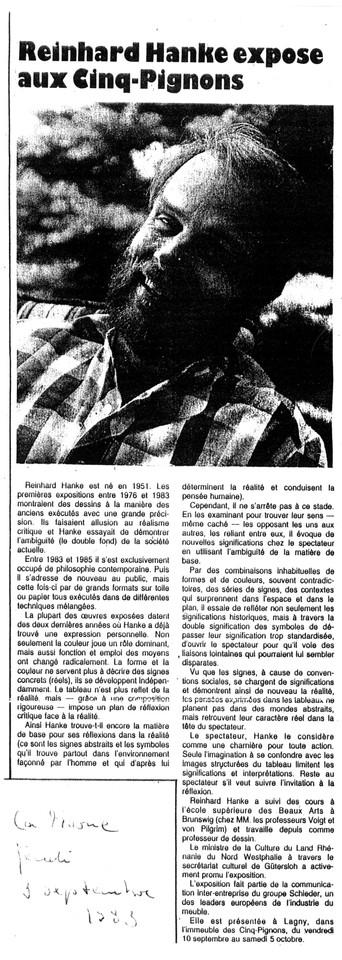 La_Marne Cinq-Pignons Zeitung Presse Zeitungsbericht Reinhard_Hanke_expose_aux_Cinq_Pignons Stadtgalerie Kunstausstellung Künstler