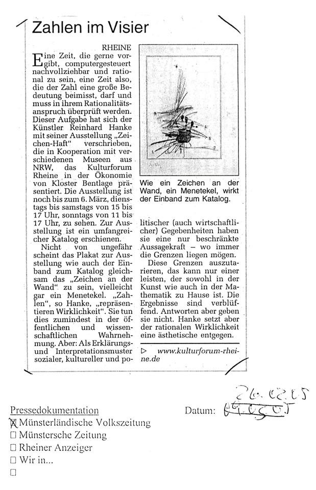 Münsterländische_Volkszeitung Zeitungsbericht Zahlen_im_Visier Kulturforum Ökonomie Kloster_Bentlage Kunstausstellung Künstler computergesteuert Rationalitätsanspruch Kooperation Museum Zeichenhaft Katalog Zeichen Menetekel Wirklichkeit Wahrnehmung Erklärungsmuster Interpretationsmuster sozial kulturell politisch Mathematik Kunst