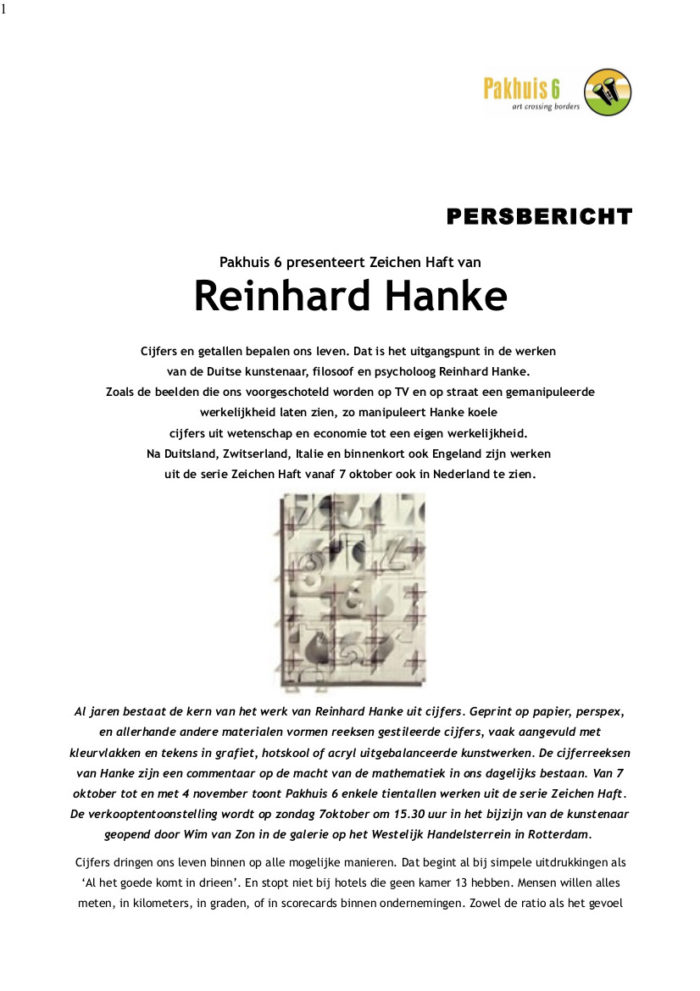 Pressemeldung Reinhard_Hanke_kunstenaar_filosof_psycholog Pakhuis_6 Rotterdam