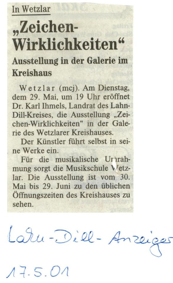 Wetzlarer_Neue_Zeitung WNZ Presse Zeitungsbericht Zeichen_Wirklichkeiten Kunstausstellung Kreishaus Künstler