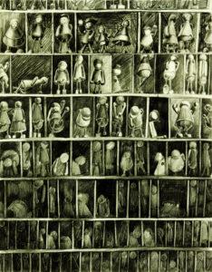 moderne Kunst Kunstwerk Handzeichnung realistisch grotesk Gefängnis Setzkasten Figur Mensch Reihung uniform konform normiert typisiert variabel Reihung Ordnung Struktur System Umformung Bildgleichnis Assoziation Imagination Sinnbild Identität Gesellschaftskritik Realität Fiktion Realismus