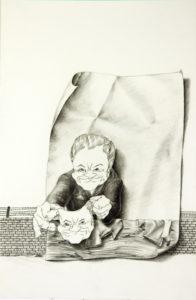 moderne Kunst unorthodox Mensch Maske Schein Porträt Umformung ungewöhnlich modifiziert karikativ ausdrucksstark emotional doppelbödig mehrdeutig kombiniert anonym austauschbar auswechselbar reduziert assoziativ Täuschung Illusion schwarzweiß Metapher Verwandlung Inspiration Fiktion Zeitkritik Realismus