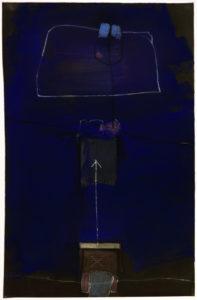 moderne Kunst unkonventionell Kunstwerk abstrahiert blau monochrom unbunt komplex mystisch kryptisch verschlüsselt transzendent mehrdeutig Zeichen Symbol Code Bildzeichen kombiniert Zuordnung Relation System Metamorphose Umdeutung Umformung assoziativ Intuition Phantasie Imagination Inspiration Konzeptkunst