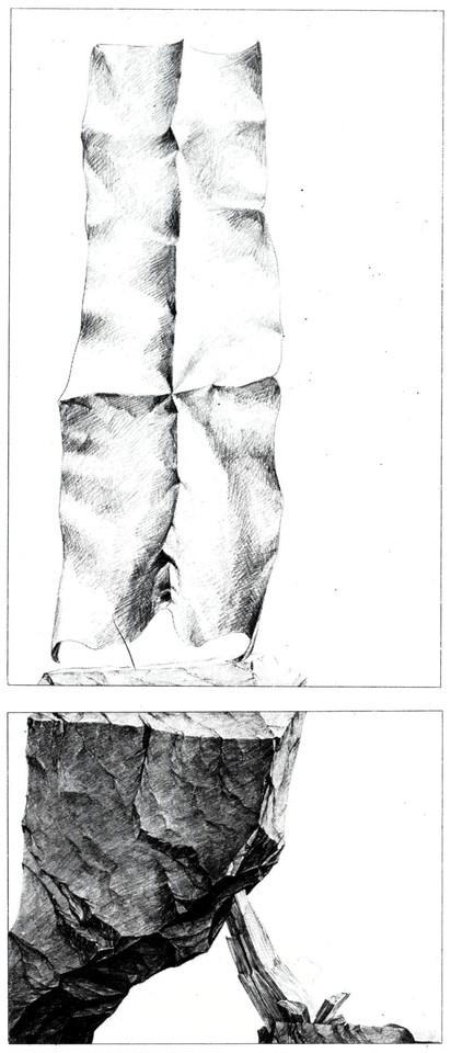 Bildbeschreibung moderne Kunst unorthodox ungewöhnlich Handzeichnung Serie Reales Fels Papier Monument variabel Verunsicherung Irritation Illusion Raum realistisch irreal reduziert schwarzweiß doppelbödig mehrschichtig kontrastreich kombiniert montieren Relation Metapher Zeichen mehrdeutig assoziativ Realität Realismus
