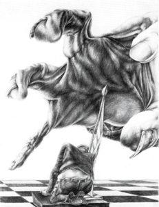 moderne Kunst Handzeichnung Spielfigur Mensch Hand Individuum überdimensioniert Emotion existenziell bedrohlich Angst resigniert realistisch kombiniert Relation Kombinatorik schwarz-weiß assoziativ Fantasie Psyche Symbol Fiktion Imagination Deillusion Proportion Reflexion Sozialkritik Realität Realismus