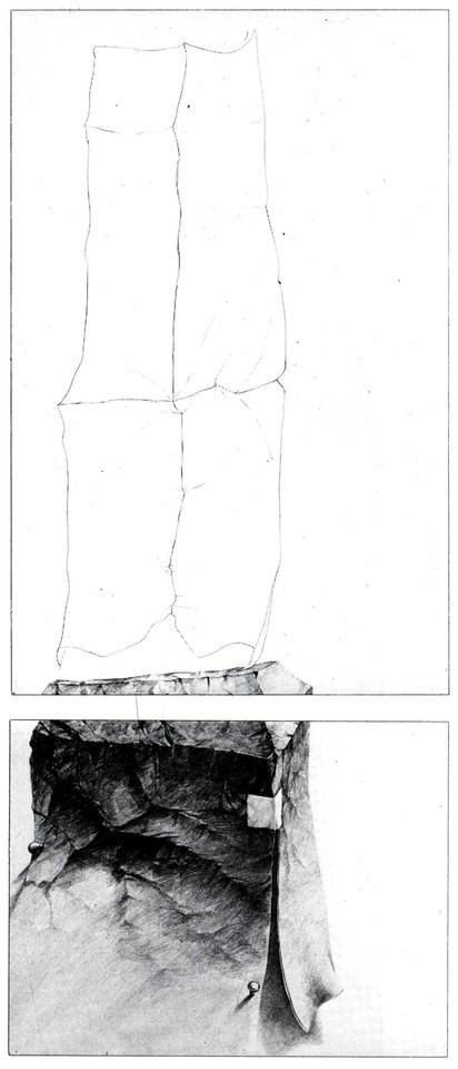 Bildbeschreibung moderne Kunst ungewöhnlich Handzeichnung Fels Zeichnung Papier Monument linear realistisch variabel Verunsicherung Irritation Illusion figurativ realistisch irreal schwarzweiß mehrschichtig kontrastreich kombiniert montieren Relation Symbol Zeichen mehrdeutig assoziativ Reflexion Imagination Realität Realismus