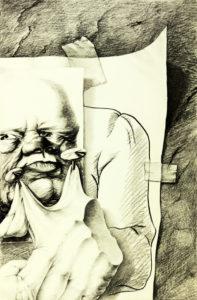 moderne Kunst Kunstwerk Handzeichnung Collage realistisch grotesk karikativ unkonventionell irreal hintersinnig Fiktion Metapher Zeichen Versatzstück Kombination Relativität Schein Reflexion Welt irreal hintersinnig Metamorphose Transformation Zuordnung Kombinatorik montieren Zuordnung Struktur Gesellschaftskritik Realität Realismus