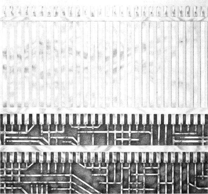 moderne Kunst Buntstiftzeichnung auswechselbar digital vernetzt Element Komplexität Komponente Modul Modell Raster Reihung System Struktur Strukturalisierung Technik Transformation Umdeutung Norm Typisierung Technik Variabilität Differenzierung Modifikation Imagination Assoziation Metapher Information Informationsgesellschaft Realismus