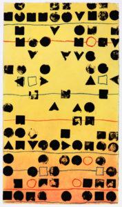 moderne Kunst atypisch Temperamalerei Monotypie Text Schriftbild Modul Analogie kryptisch seriell Reihung normiert standardisiert modifiziert variabel unbunt Segmentierung komplex Stereotyp System Raster mehrdeutig chiffriert Botschaft Semantik Zeichensystem Kombination organisiert System Modifikation Umdeutung assoziativ vieldeutig Phantasie