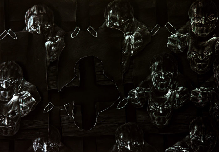 moderne Kunst unorthodox Handzeichnung Mensch Maske Portrait Umformung ungewöhnlich realistisch figurativ ausdrucksstark doppelbödig kombiniert austauschen assoziativ Täuschung karikativ auswechselbar schwarzweiß Metapher Umdeutung Verwandlung Inspiration Phantasie Fiktion Gesellschaftskritik Realismus