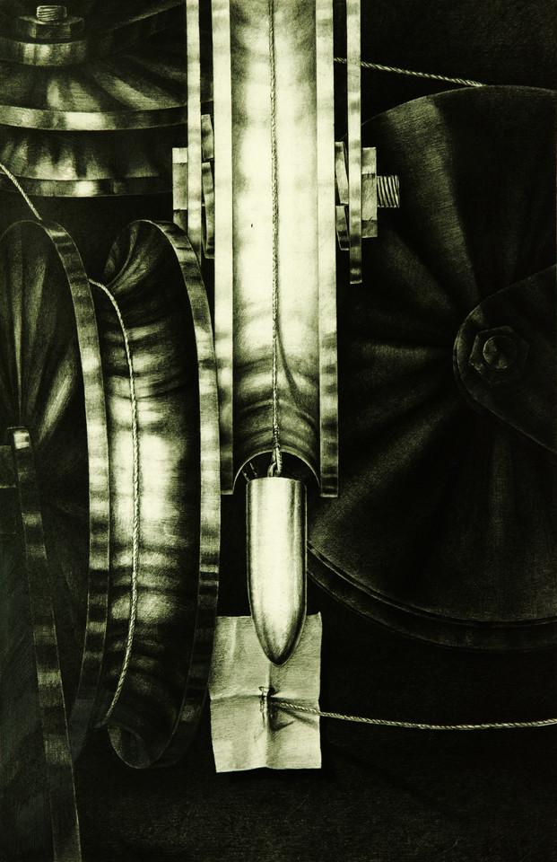 Bildbeschreibung moderne Kunst Handzeichnung Serie Maschinerie Stahl Projektil Bedrohung Risiko Verunsicherung Illusion Täuschung Tiefenraum figurativ realistisch irreal reduziert schwarzweiß doppelbödig kombiniert Kombination montieren Relation Metapher mehrdeutig Reflexion Zeitkritik Realität Realismus