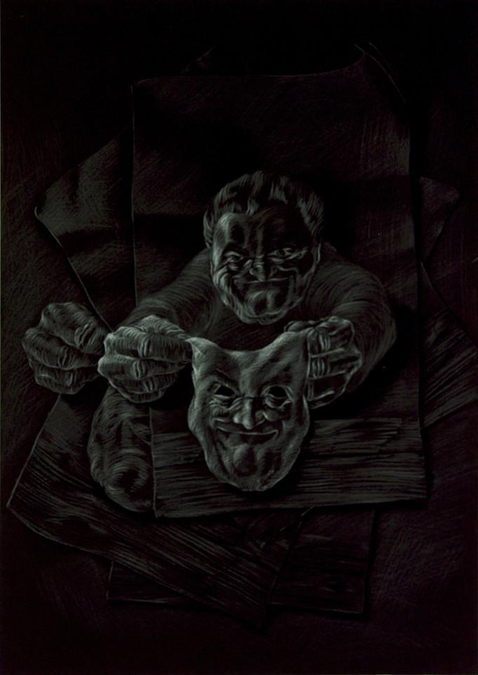 moderne Kunst unorthodox Handzeichnung Spielkarte Mensch Maske Porträt Antlitz Umformung ungewöhnlich realistisch figurativ ausdrucksstark doppelbödig mehrdeutig kombiniert austauschen reduziert assoziativ Täuschung karikativ auswechselbar Zuordnung schwarzweiß Symbol Umdeutung Verwandlung Phantasie Fiktion Gesellschaftskritik